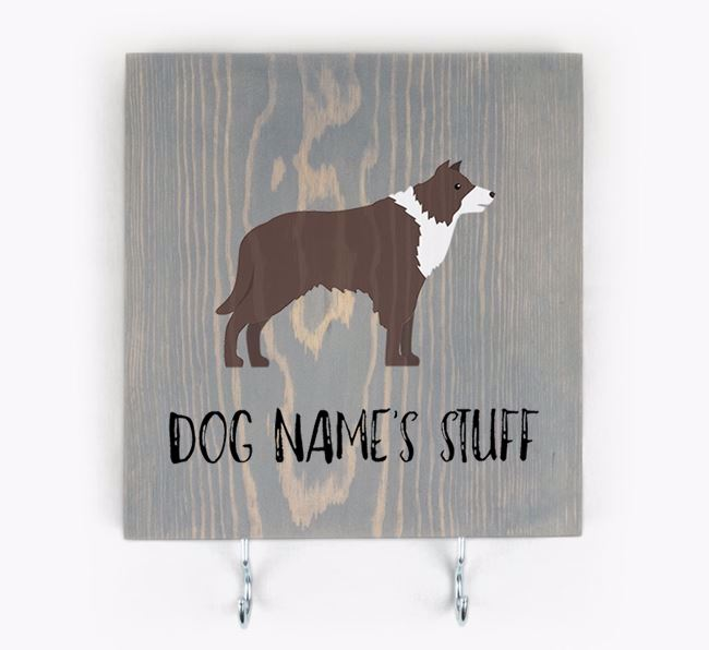 Personalised Wooden Sign 'Your Dog's Stuff' with Border Collie Icon