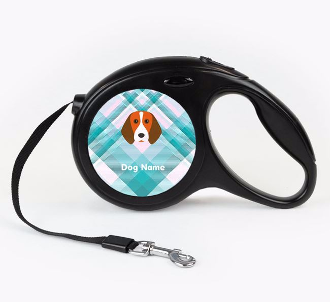 Personalised Retractable Lead with Tartan Pattern and Beagle Icon
