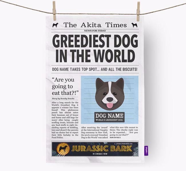 The Akita Times 'Greediest Dog In The World' Personalised Dish Towel