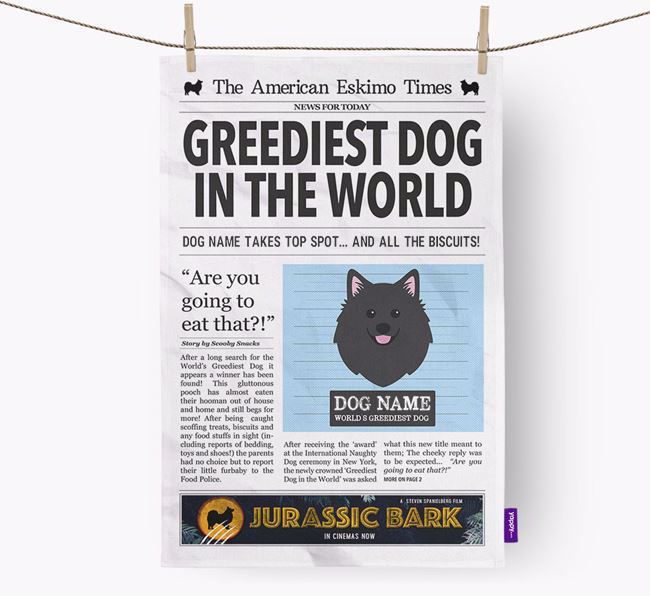 The Eskie Times 'Greediest Dog In The World' Personalised Dish Towel