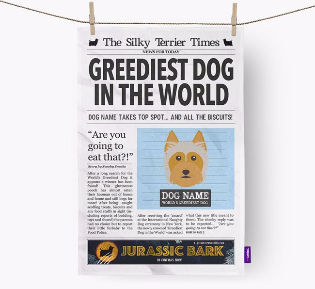 The Silky Times 'Greediest Dog In The World' Personalised Dish Towel