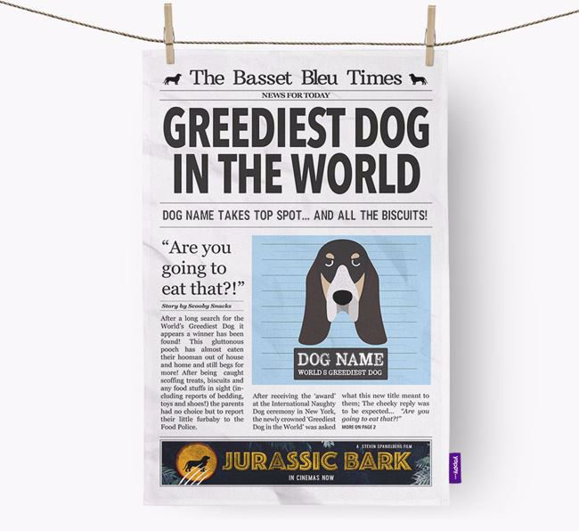 The Basset Bleu Times 'Greediest Dog In The World' Personalised Dish Towel