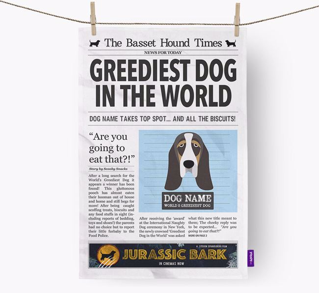 The Basset Times 'Greediest Dog In The World' Personalised Tea Towel