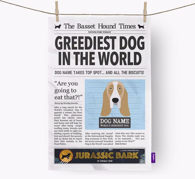 The Basset Times 'Greediest Dog In The World' Personalised Dish Towel
