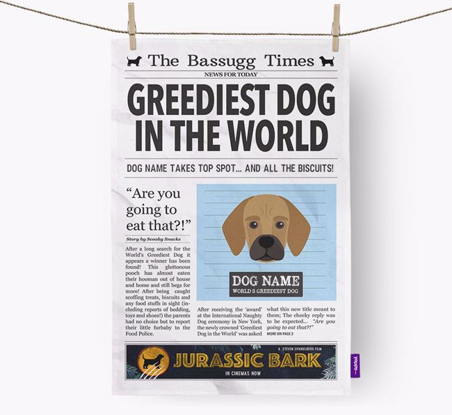 The Bassugg Times 'Greediest Dog In The World' Personalised Tea Towel