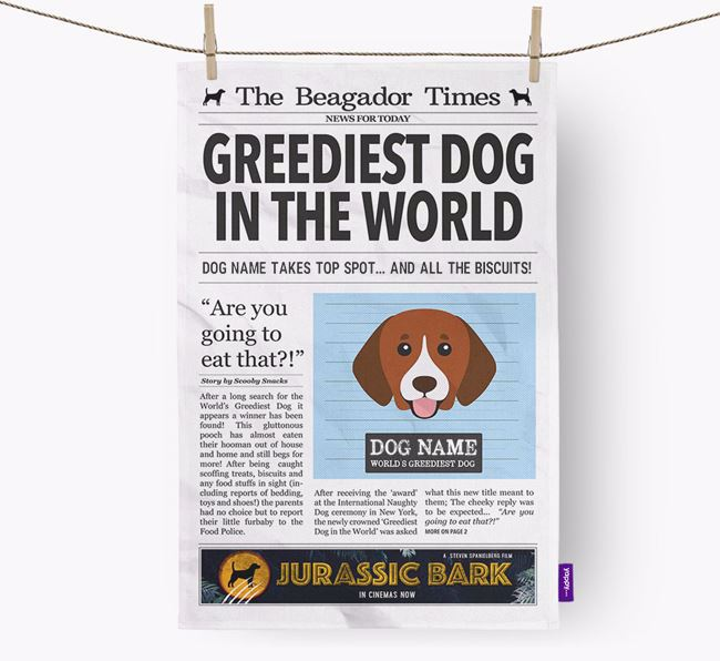 The Beagador Times 'Greediest Dog In The World' Personalised Dish Towel
