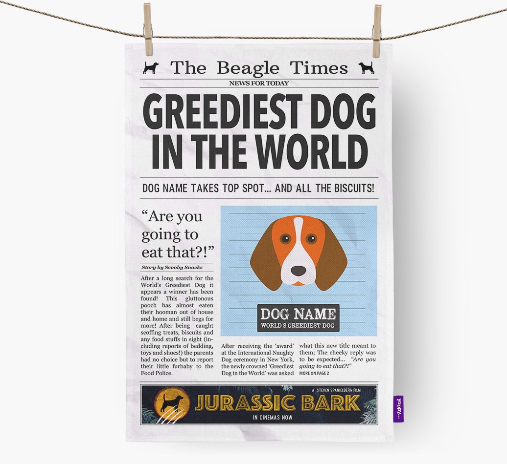 Personalised The Beagle Times 'Greediest Dog In The World' Newspaper Tea Towel