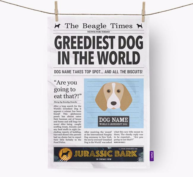 The Beagle Times 'Greediest Dog In The World' Personalised Dish Towel