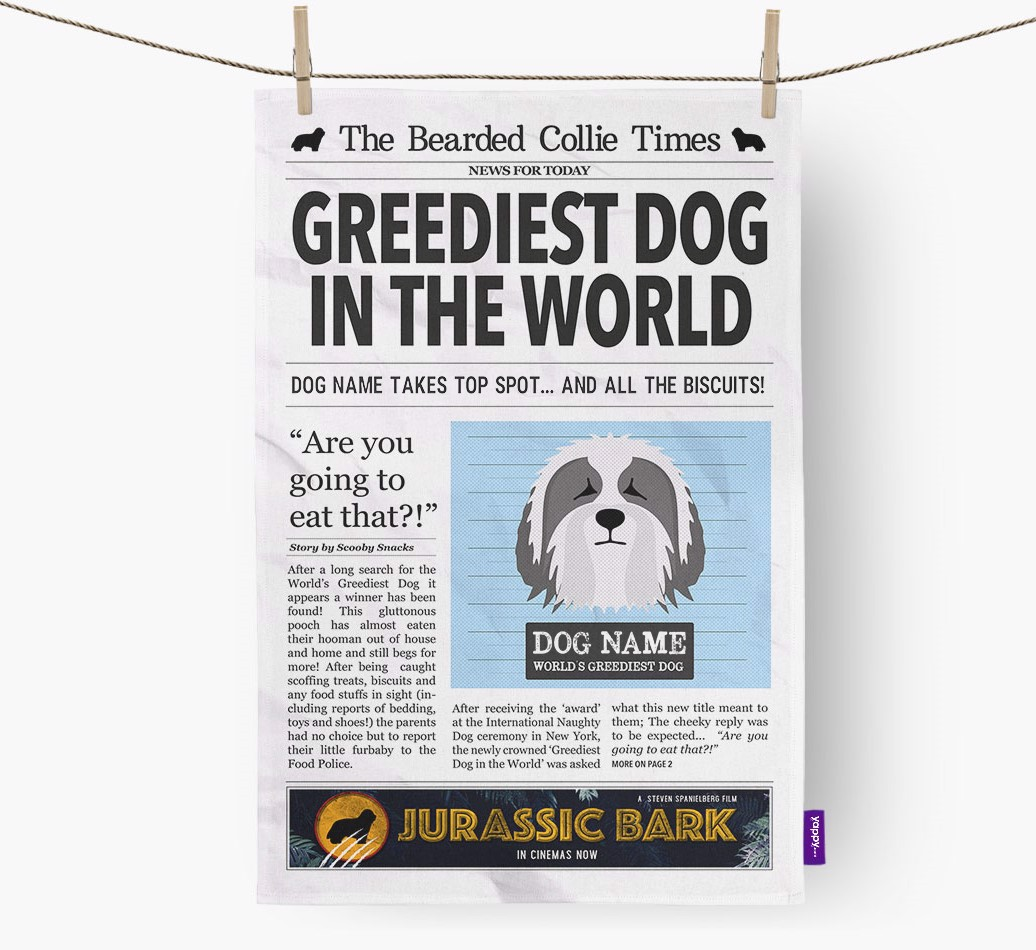 Personalised The Bearded Collie Times 'Greediest Dog In The World' Newspaper Tea Towel