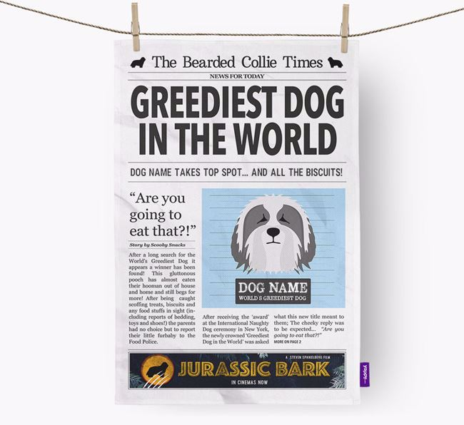 The Beardie Times 'Greediest Dog In The World' Personalised Dish Towel
