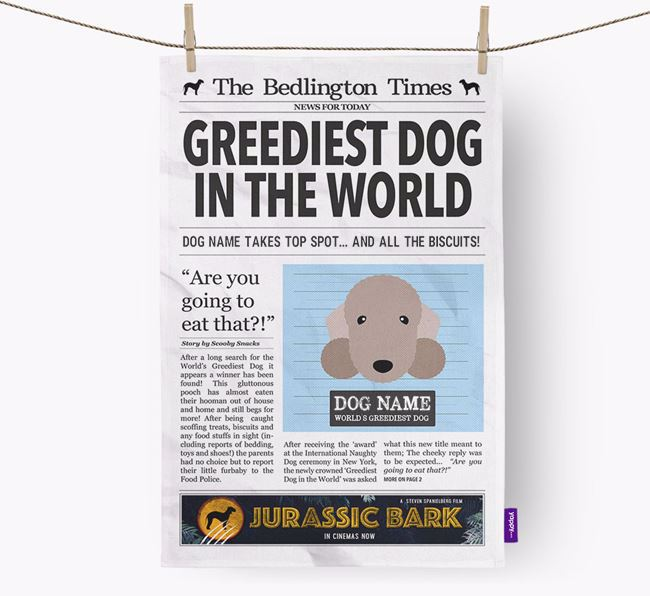 The Bedlington Times 'Greediest Dog In The World' Personalised Dish Towel
