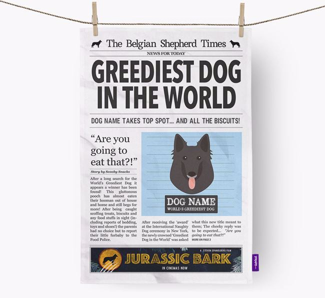 The Belgian Times 'Greediest Dog In The World' Personalised Dish Towel