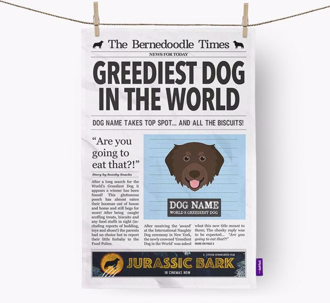 The Bernedoodle Times 'Greediest Dog In The World' Personalised Dish Towel