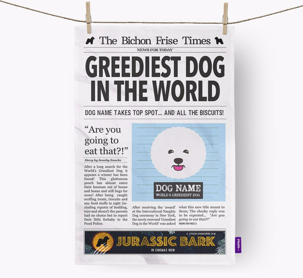 Personalised The Bichon Frise Times 'Greediest Dog In The World' Newspaper Tea Towel