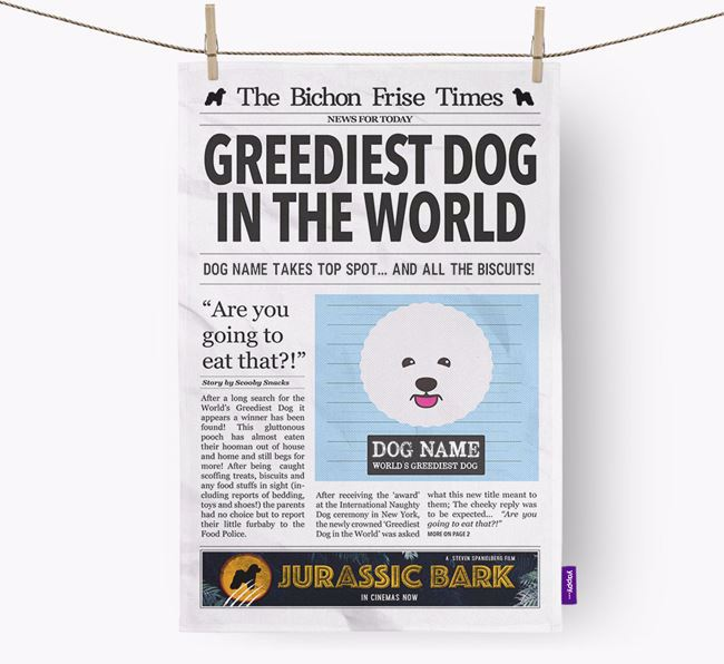 The Bichon Frise Times 'Greediest Dog In The World' Personalised Dish Towel