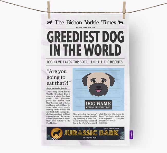 The Bichon Yorkie Times 'Greediest Dog In The World' Personalised Dish Towel