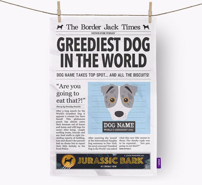 The Border Jack Times 'Greediest Dog In The World' Personalised Dish Towel