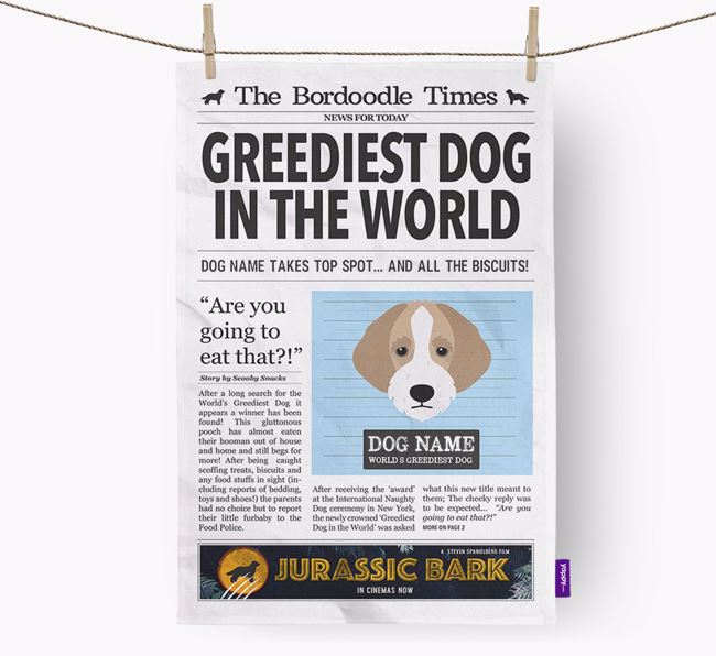 The Bordoodle Times 'Greediest Dog In The World' Personalised Dish Towel