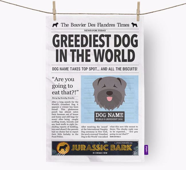 The Bouvier Times 'Greediest Dog In The World' Personalised Dish Towel
