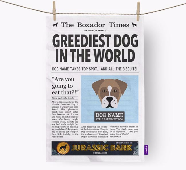 The Boxador Times 'Greediest Dog In The World' Personalised Dish Towel