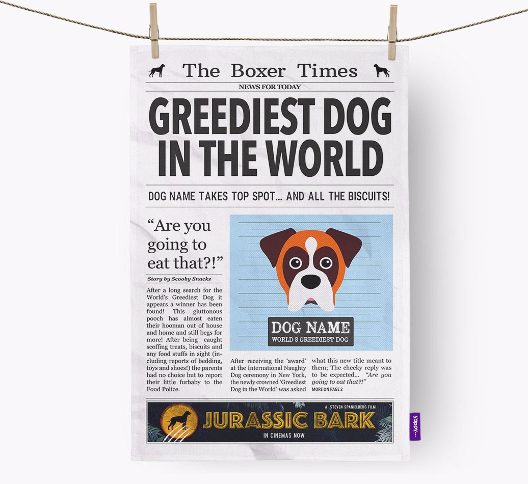 Personalised The Boxer Times 'Greediest Dog In The World' Newspaper Tea Towel