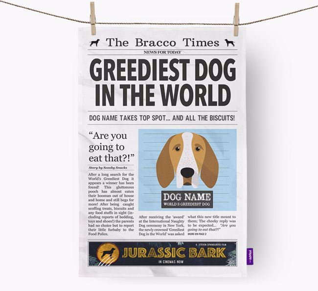 The Bracco Times 'Greediest Dog In The World' Personalised Dish Towel