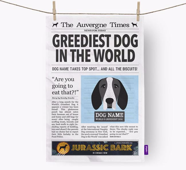 The Auvergne Times 'Greediest Dog In The World' Personalised Dish Towel