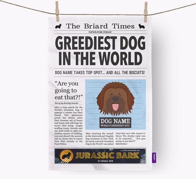 The Briard Times 'Greediest Dog In The World' Personalised Dish Towel