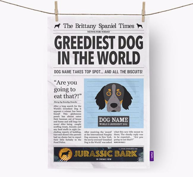 The Brittany Times 'Greediest Dog In The World' Personalised Dish Towel
