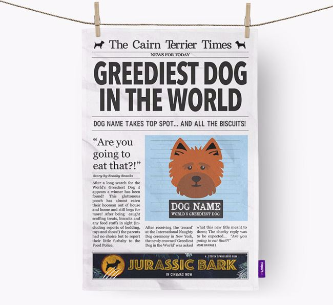 The Cairn Terrier Times 'Greediest Dog In The World' Personalised Dish Towel