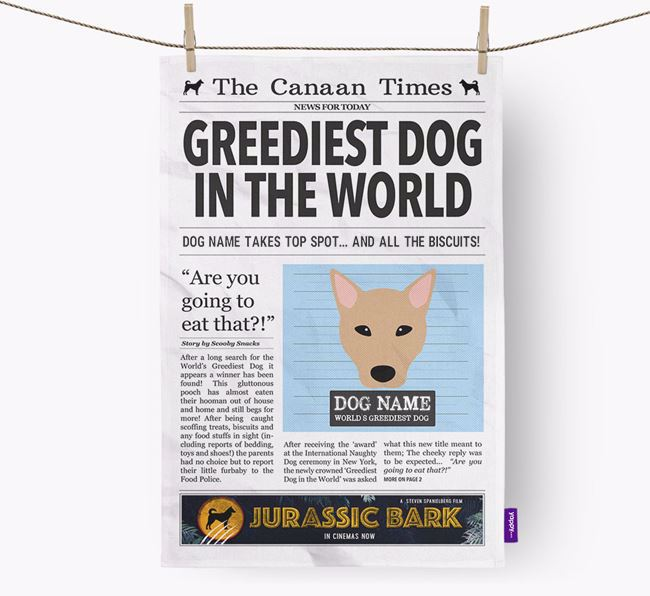 The Canaan  Times 'Greediest Dog In The World' Personalised Dish Towel