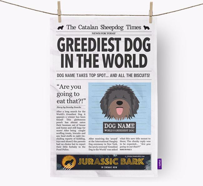 The Catalan Times 'Greediest Dog In The World' Personalised Dish Towel