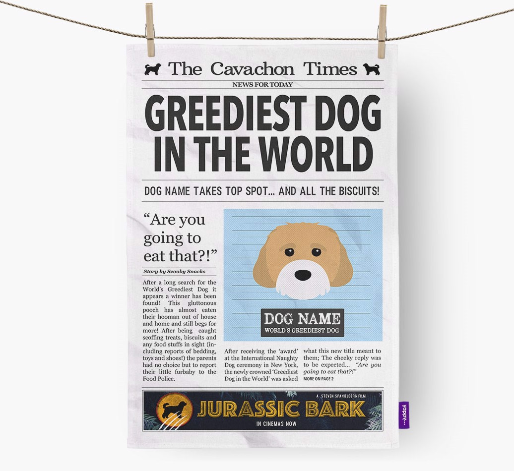 Personalised The Cavachon Times 'Greediest Dog In The World' Newspaper Tea Towel