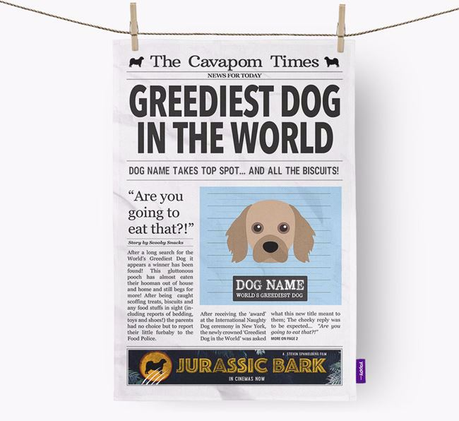 The Cavapom Times 'Greediest Dog In The World' Personalised Dish Towel