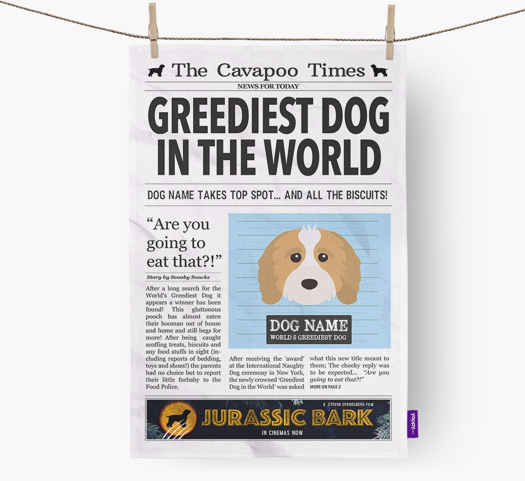 Personalised The Cavapoo Times 'Greediest Dog In The World' Newspaper Tea Towel