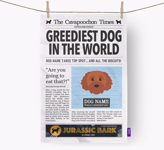 The Cavapoochon Times 'Greediest Dog In The World' Personalised Dish Towel