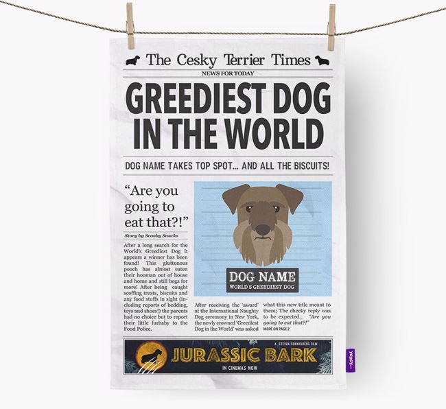 The Cesky Terrier Times 'Greediest Dog In The World' Personalised Dish Towel