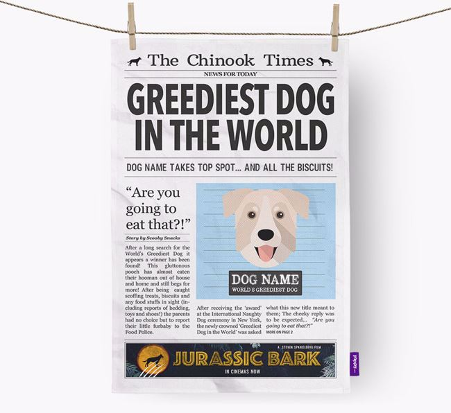 The Chinook Times 'Greediest Dog In The World' Personalised Dish Towel