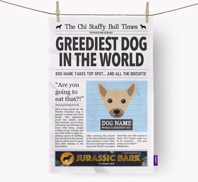 The Chi Staffy Bull Times 'Greediest Dog In The World' Personalised Dish Towel
