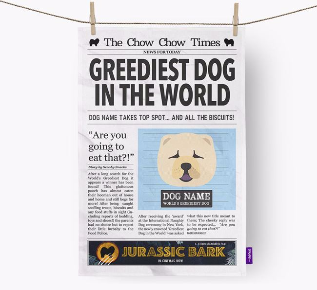 The Chow Chow Times 'Greediest Dog In The World' Personalised Dish Towel