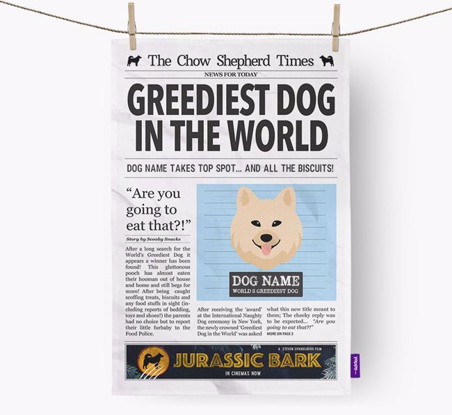 The Chow Shepherd Times 'Greediest Dog In The World' Personalised Dish Towel