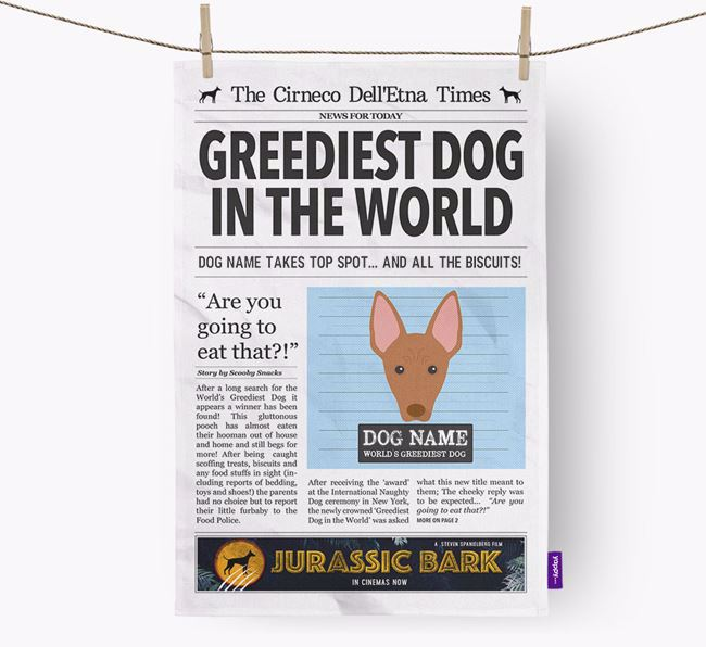 The Cirneco Times 'Greediest Dog In The World' Personalised Dish Towel