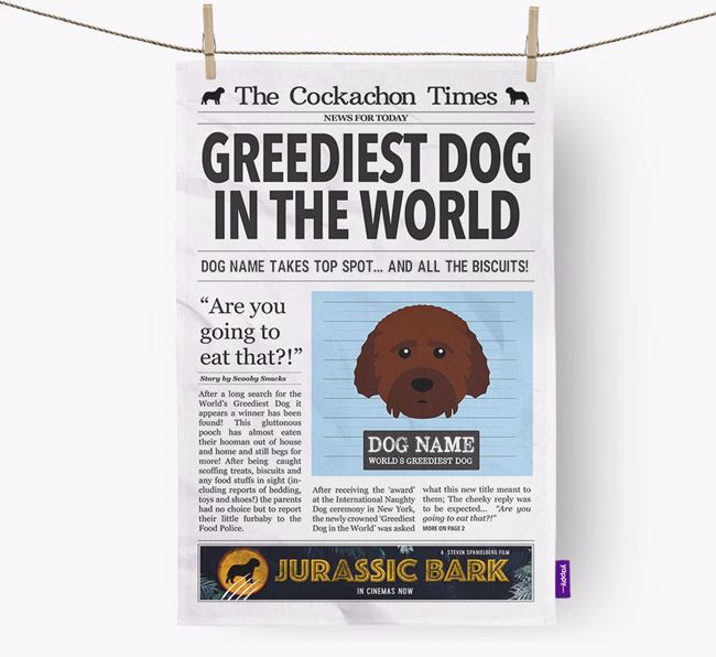 The Cockachon Times 'Greediest Dog In The World' Personalised Dish Towel