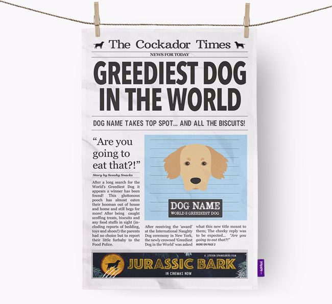 The Cockador Times 'Greediest Dog In The World' Personalised Dish Towel