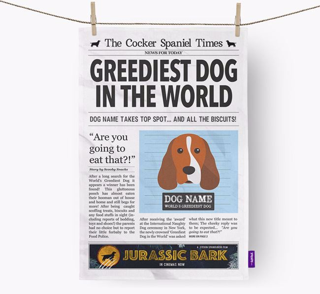The Spaniel Times 'Greediest Dog In The World' Personalised Dish Towel