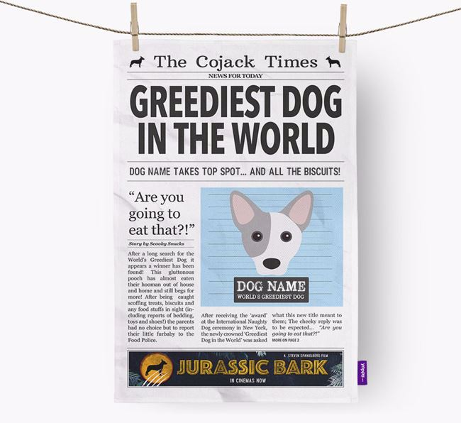The Cojack Times 'Greediest Dog In The World' Personalised Dish Towel