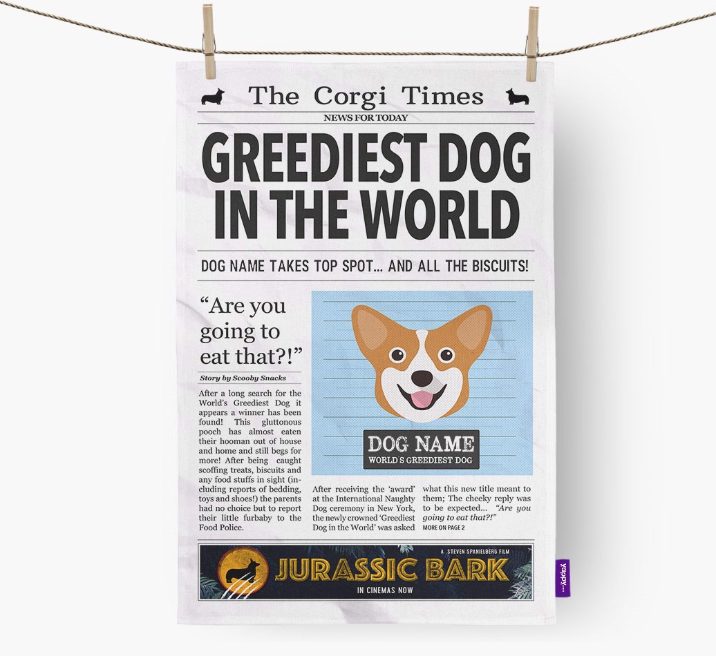 Personalised The Corgi Times 'Greediest Dog In The World' Newspaper Tea Towel