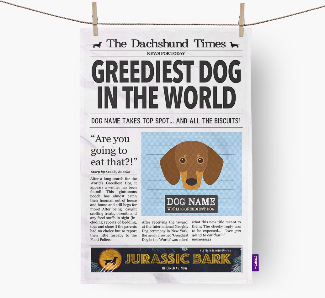 Personalised The Dachshund Times 'Greediest Dog In The World' Newspaper Tea Towel