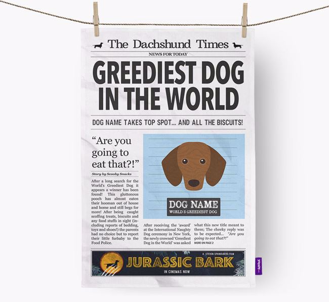 The Dachshund Times 'Greediest Dog In The World' Personalised Dish Towel