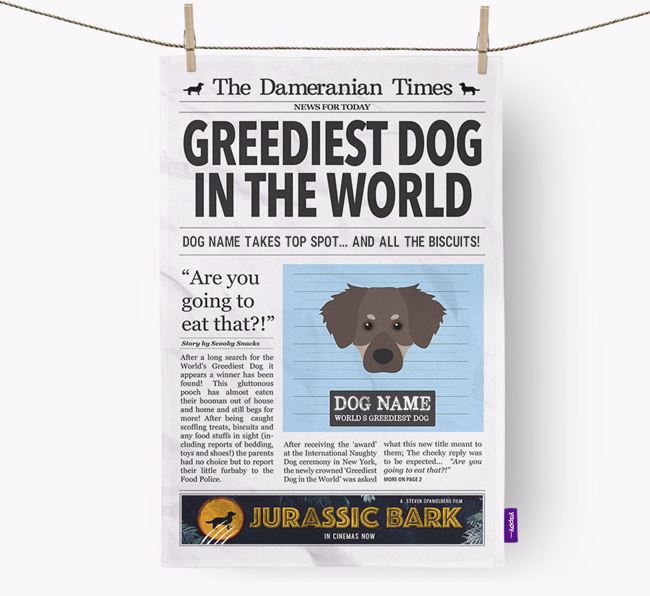 The Dameranian Times 'Greediest Dog In The World' Personalised Dish Towel